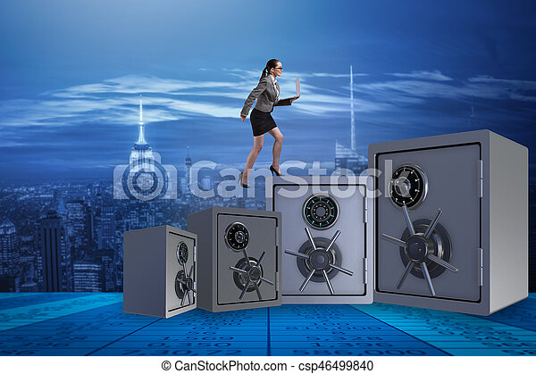 The businesswoman walking on top of safe - csp46499840