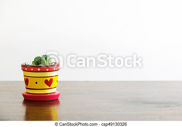 The Cactus In A Heart Shaped Vase Is Placed On A Wooden Table With