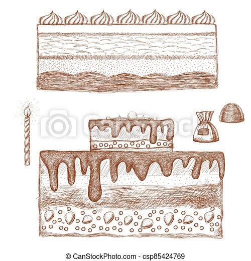 The cake is hand-drawn in brown with a fine dashed pattern. Sweets sketch on a white background. Candy, candle. vector illustration. - csp85424769