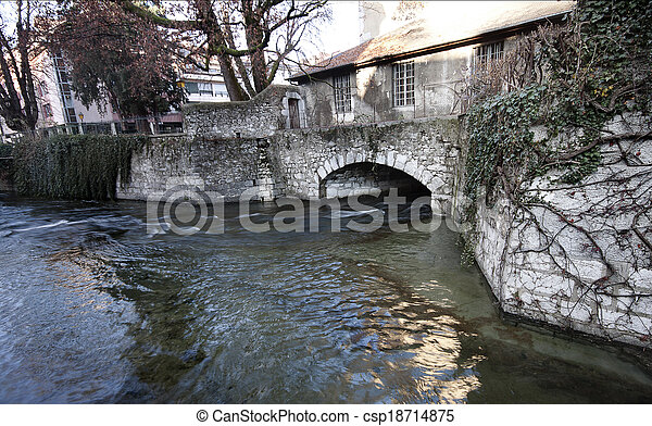 The Canal of Annecy City, France. - csp18714875