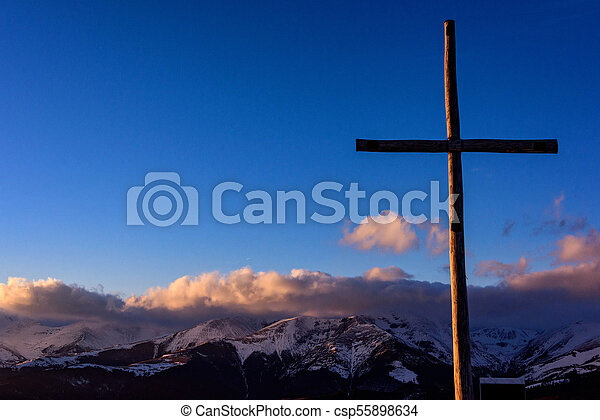 The Carpathian mountain with cross in the foreground - csp55898634