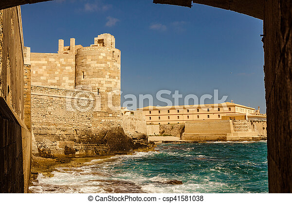 The castle in Siracusa - Sicily - csp41581038