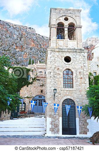the castle of Monemvasia Peloponnese Greece - csp57187421