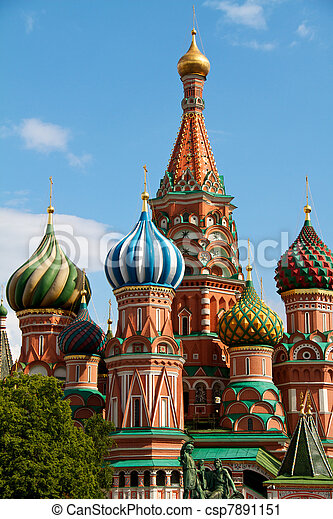 The Cathedral of Saint Basil the Blessed or simply Pokrovskiy Cathedral is a multi-tented church on the Red Square in Moscow. It is an international symbol for the nation and for the city of Moscow. - csp7891151