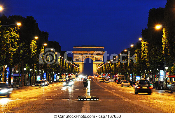 The Champs-Elysees at night, Paris - csp7167650