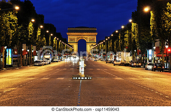 The Champs-Elysees at night - csp11459043