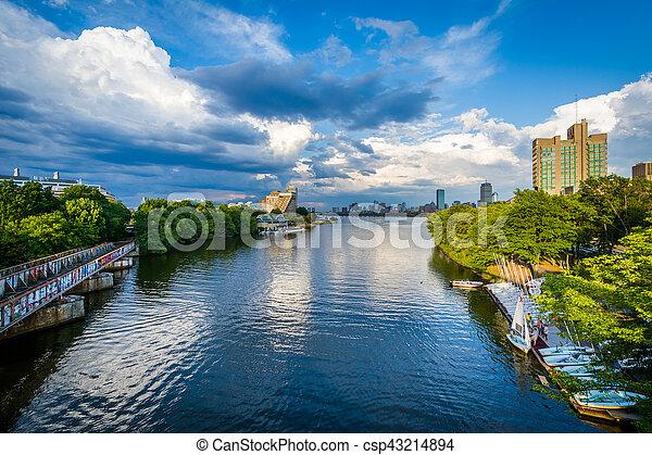 The Charles River at Boston University, in Boston, Massachusetts. - csp43214894