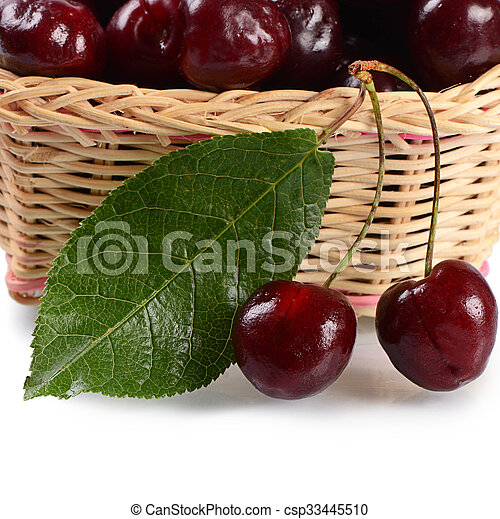 The cherry on branch with leaves - csp33445510