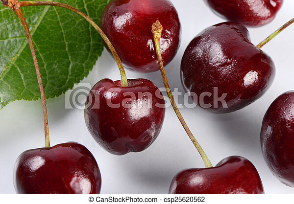 The cherry on branch with leaves - csp25620562