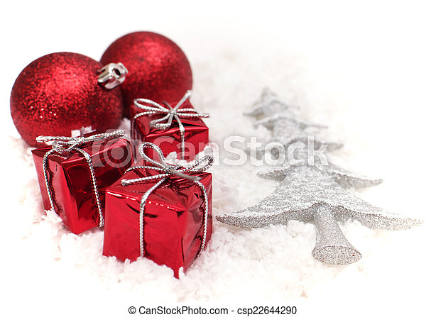 the christmas gifts and the tree - csp22644290