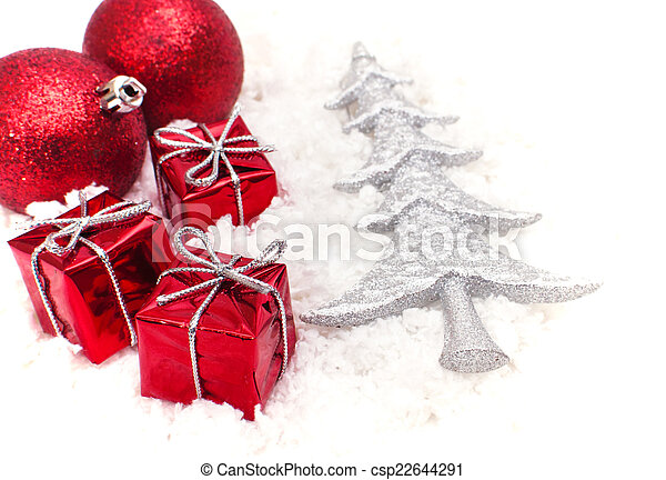 the christmas gifts and the tree - csp22644291