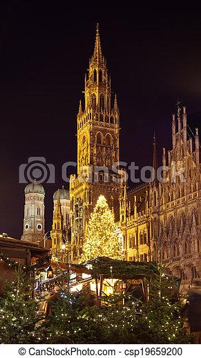 Munich Germany Christmas.The Christmas Market On The Marienplatz In Munich