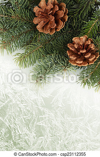 The christmas tree on green background - csp23112355