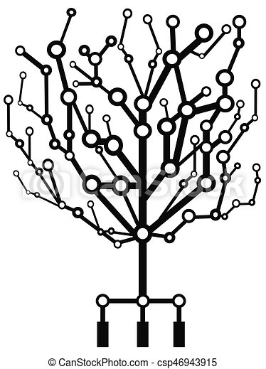 the circuit tree  isolated circuit tree on white background