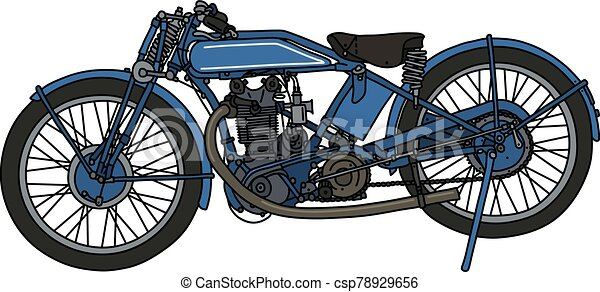 The classic blue motorcycle - csp78929656