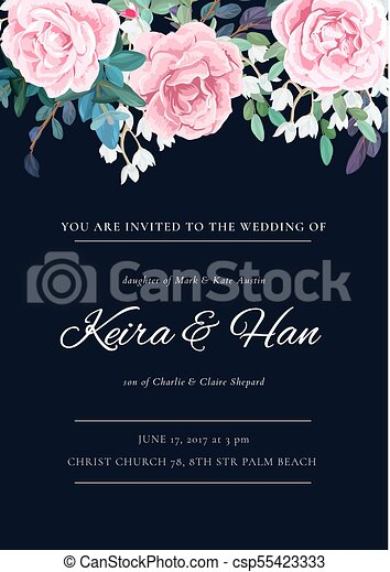 The classic design of a wedding invitation with flowering roses ...