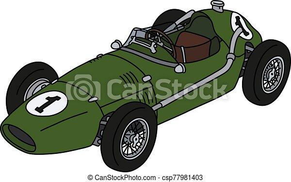 The classic green racecar - csp77981403