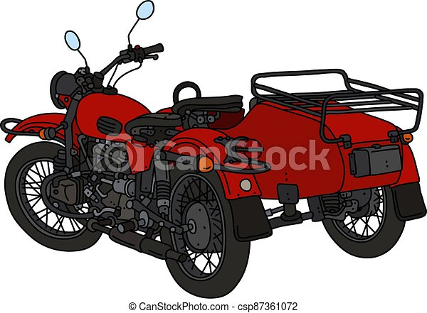 The classic red sidecar - csp87361072