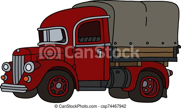 The classic red truck - csp74467942
