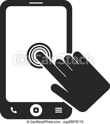 the click on the screen mobile phone icon smartphone vector clip rh canstockphoto com Cell Phone Clip Art Black and White Cell Phone Symbol