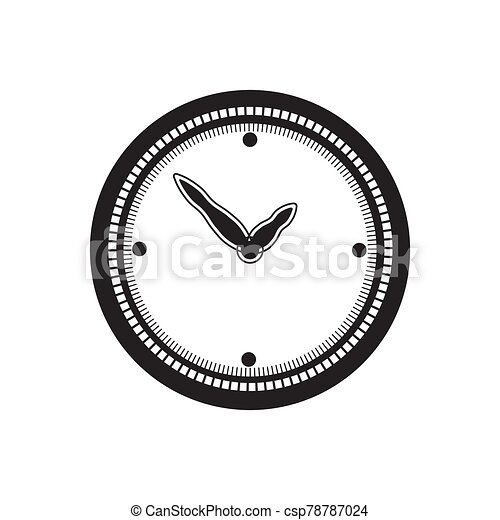 the clock icon is black on a white isolated background. Vector image - csp78787024