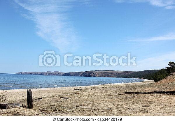 The coast at Lake Baikal, Olkhon island, , Russia - csp34428179