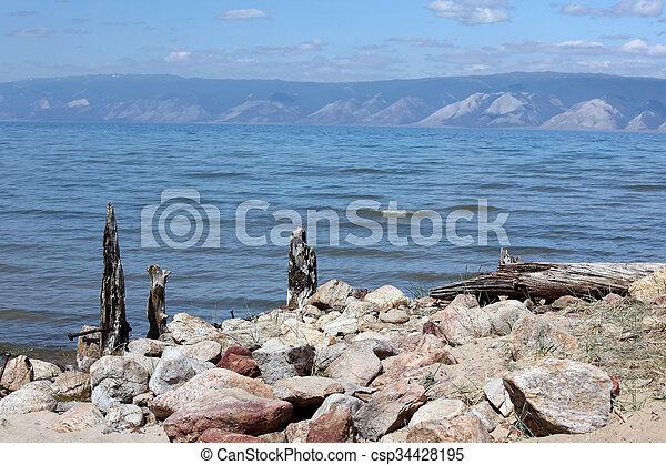 The coast at Lake Baikal, Olkhon island, , Russia - csp34428195
