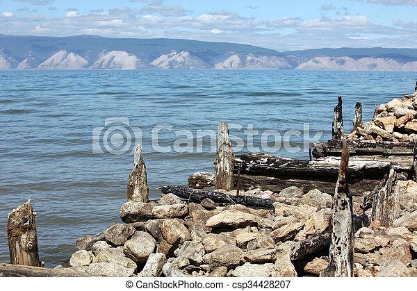 The coast at Lake Baikal, Olkhon island, , Russia - csp34428207