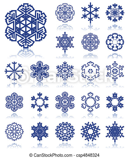 The collection of icons of snowflakes of dark blue colour. A vector illustration - csp4848324