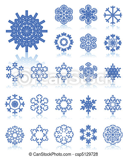 The collection of icons of snowflakes of dark blue colour. A vector illustration - csp5129728