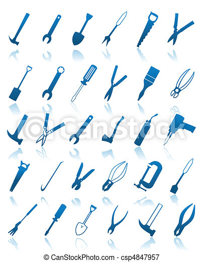 The collection of icons of tools. A vector illustration - csp4847957