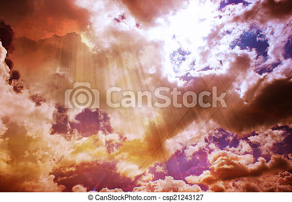 The color sky with clouds, background - csp21243127