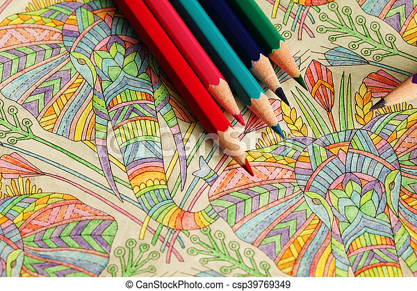 - The Coloring Book With Pencils. The Coloring Book For Adults Hobby With  Pencils.