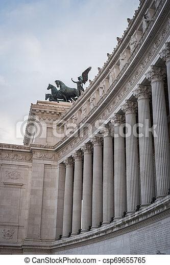 The columns of the Vittorio Emanuele II monument in Rome - csp69655765