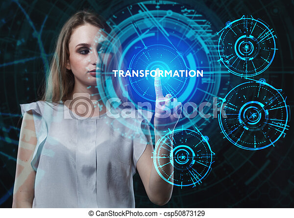 The concept of business, technology, the Internet and the network. A young entrepreneur working on a virtual screen of the future and sees the inscription: Transformation - csp50873129