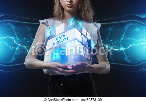 The concept of business, technology, the Internet and the network. A young entrepreneur working on a virtual screen of the future and sees the inscription: Data breach - csp50873139