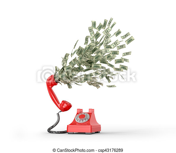 The concept of paid telephone calls. Phone number from which fly dollar bills. 3D illustration - csp43176289
