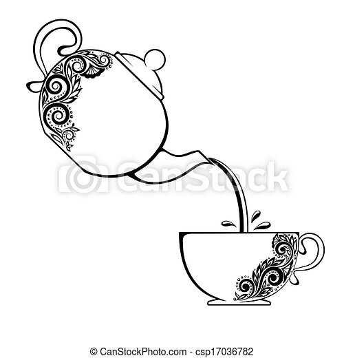 The contour of the Cup and teapot with floral element. - csp17036782