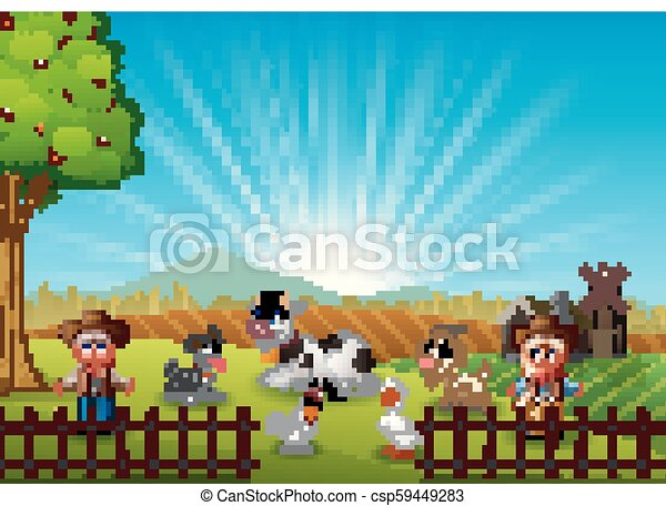 The cowboy and cowgirl at the farm with animals on the morning - csp59449283