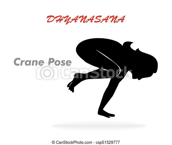the crane pose illustration with a beautiful girl on a