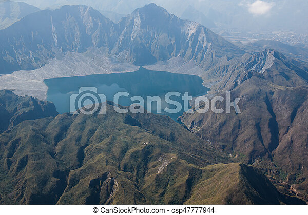 The crater of Mt. Pinatubo from the air, Philippines - csp47777944