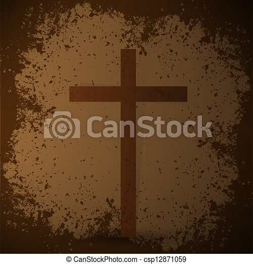 The cross on the grunge background. The biblical concept. - csp12871059