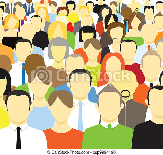 The crowd of abstract people - csp9994190