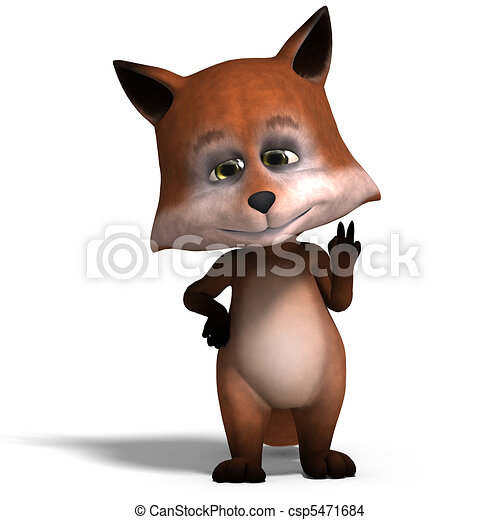 the cute cartoon fox is very smart and clever. 3D rendering and shadow over white - csp5471684