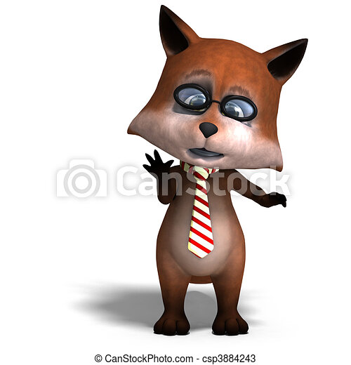 the cute cartoon fox is very smart and clever. 3D rendering and shadow over white - csp3884243