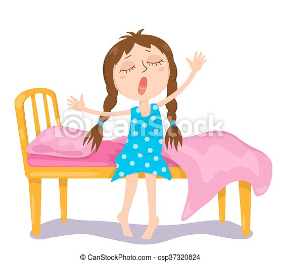 the cute girl wakes up vector cartoon illustration isolated on white rh canstockphoto com Strong Woman Clip Art Little Girl Waking Up Clip Art