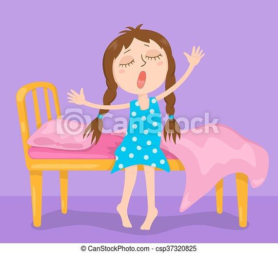 the cute girl wakes up vector cartoon illustration vector rh canstockphoto com Go to School Clip Art Strong Woman Clip Art