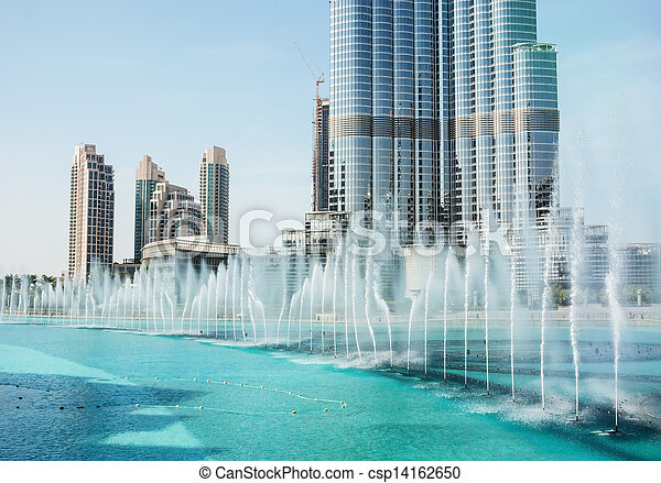 The Dancing fountains downtown and in a man-made lake in Dubai - csp14162650