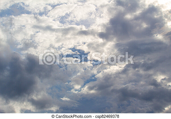 The Dark gray dramatic sky with large clouds in rainy seasons. - csp82469378