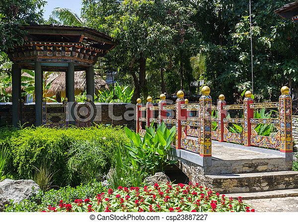 The Design Of Bhutan Bridge And Pavilion   Csp23887227